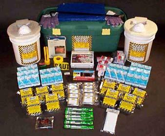 The Office or Classroom Kit- Food Bars, Water, Solar Blankets, Tube Tent, Work Gloves, Water Purification Tablets, Sanitary Waste Bags, Toilet Chemical, Waterproof Matches, AM/FM Radio with Light & Generator, 12-Hour Lightsticks, Dust Masks, Tissue Packs 131-Piece First Aid Kit, Flashlight with 20-Year Batteries, Caution Tape, Pry Bar.